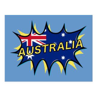 """Kapow""  Starburst Australian flag Post Card"