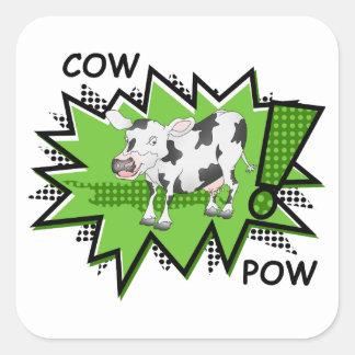 KAPOW Starburst cow Square Stickers