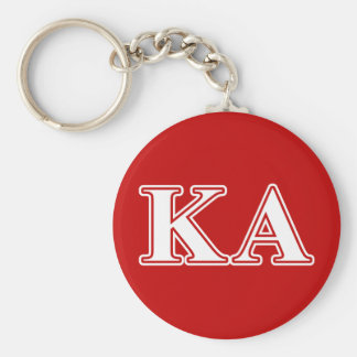 Kappa Alpha Order White and Red Letters Basic Round Button Key Ring
