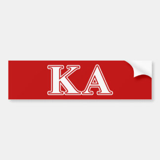 Kappa Alpha Order White and Red Letters Bumper Sticker