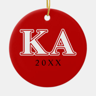 Kappa Alpha Order White and Red Letters Round Ceramic Decoration