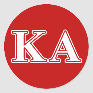 Kappa Alpha Order White and Red Letters Round Sticker