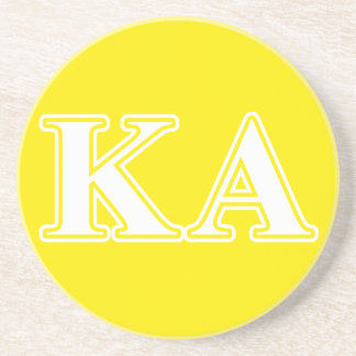 Kappa Alpha Order White and Yellow Letters Coaster