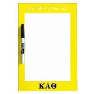Kappa Alpha Theta Black Letters Dry Erase Board