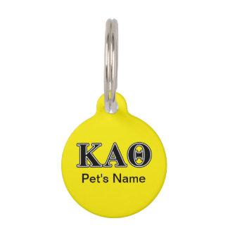 Kappa Alpha Theta Black Letters Pet Name Tag