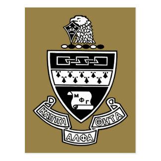 Kappa Alpha Theta Coat of Arms: Black and White Postcard
