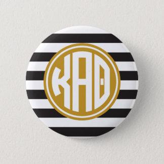 Kappa Alpha Theta   Monogram Stripe Pattern 6 Cm Round Badge