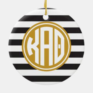 Kappa Alpha Theta | Monogram Stripe Pattern Christmas Ornament