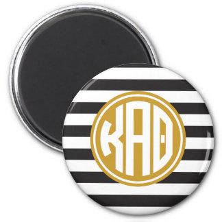 Kappa Alpha Theta | Monogram Stripe Pattern Magnet