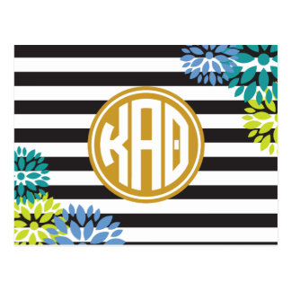 Kappa Alpha Theta   Monogram Stripe Pattern Postcard