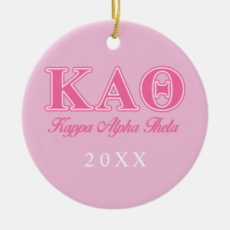Kappa Alpha Theta Pink Letters Christmas Ornament