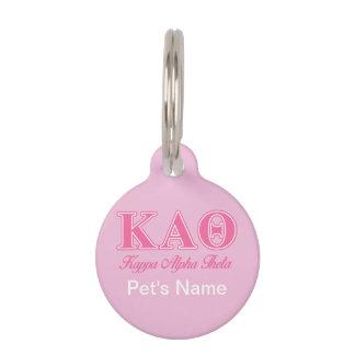 Kappa Alpha Theta Pink Letters Pet ID Tag