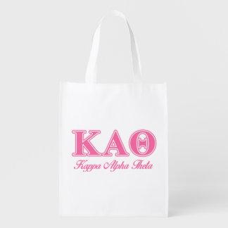 Kappa Alpha Theta Pink Letters Reusable Grocery Bag