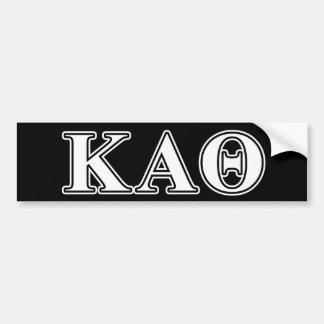 Kappa Alpha Theta White and Black Letters Bumper Sticker