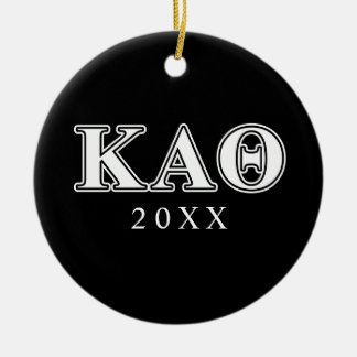 Kappa Alpha Theta White and Black Letters Christmas Ornament