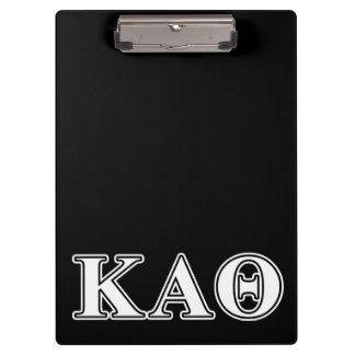 Kappa Alpha Theta White and Black Letters Clipboard