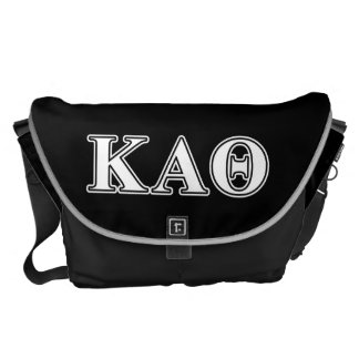 Kappa Alpha Theta White and Black Letters Courier Bag