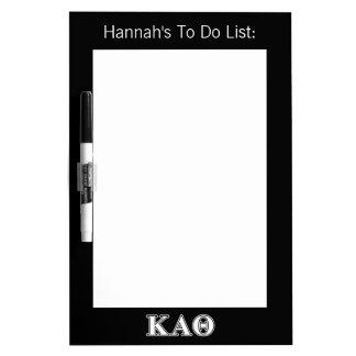 Kappa Alpha Theta White and Black Letters Dry Erase Board