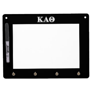 Kappa Alpha Theta White and Black Letters Dry Erase Board With Key Ring Holder