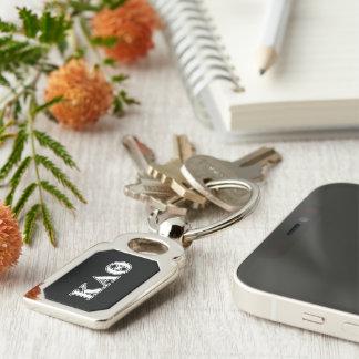 Kappa Alpha Theta White and Black Letters Key Ring