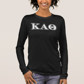 Kappa Alpha Theta White and Black Letters Long Sleeve T-Shirt