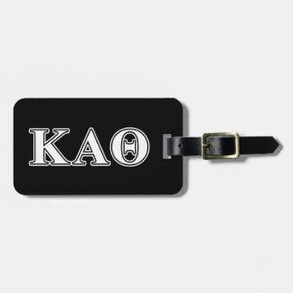 Kappa Alpha Theta White and Black Letters Luggage Tag