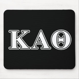 Kappa Alpha Theta White and Black Letters Mouse Mat