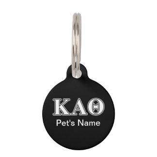 Kappa Alpha Theta White and Black Letters Pet ID Tag