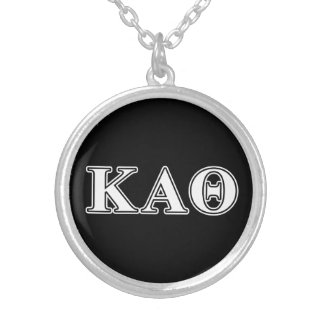Kappa Alpha Theta White and Black Letters Silver Plated Necklace
