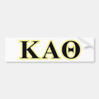 Kappa Alpha Theta Yellow and Black Letters Bumper Sticker