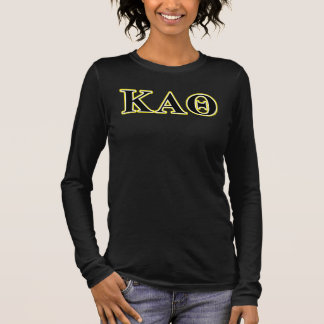 Kappa Alpha Theta Yellow and Black Letters Long Sleeve T-Shirt