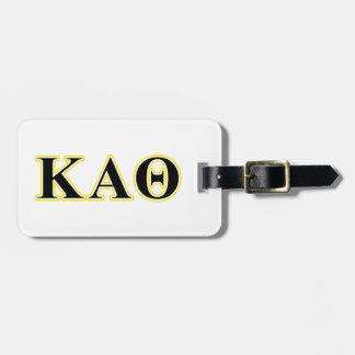 Kappa Alpha Theta Yellow and Black Letters Luggage Tag