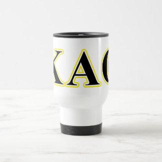 Kappa Alpha Theta Yellow and Black Letters Travel Mug