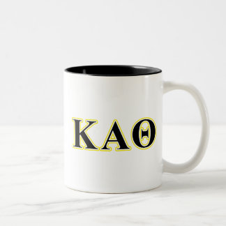 Kappa Alpha Theta Yellow and Black Letters Two-Tone Coffee Mug