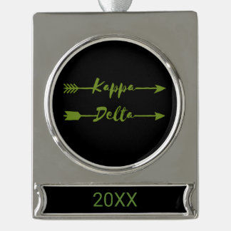 Kappa Delta Arrow Silver Plated Banner Ornament