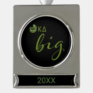 Kappa Delta Big Script Silver Plated Banner Ornament