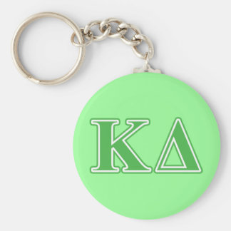 Kappa Delta Green Letters Basic Round Button Key Ring