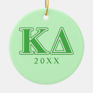 Kappa Delta Green Letters Christmas Ornament