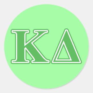 Kappa Delta Green Letters Round Sticker
