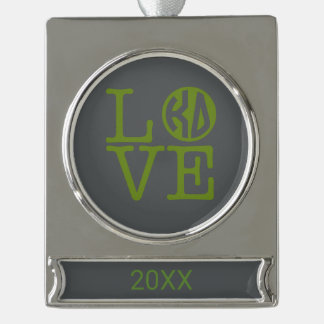 Kappa Delta Love Silver Plated Banner Ornament
