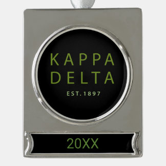 Kappa Delta Modern Type Silver Plated Banner Ornament
