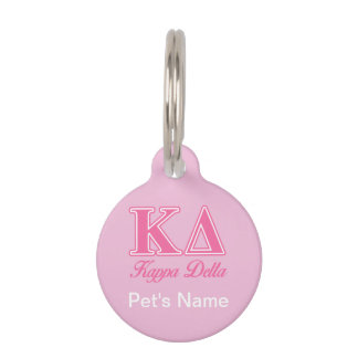 Kappa Delta Pink Letters Pet Name Tag