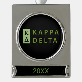 Kappa Delta Stacked Silver Plated Banner Ornament