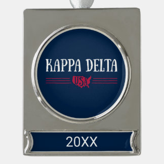 Kappa Delta USA Silver Plated Banner Ornament