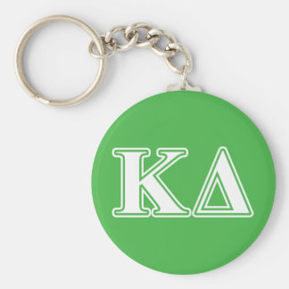 Kappa Delta White Letters Basic Round Button Key Ring