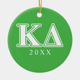 Kappa Delta White Letters Christmas Ornament