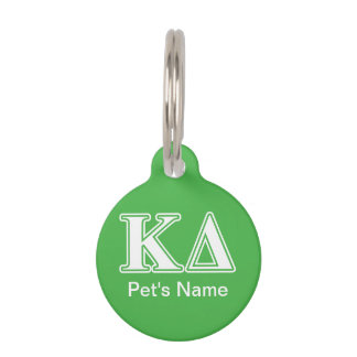 Kappa Delta White Letters Pet Tag