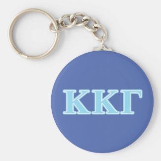 Kappa Kappa Gamma Baby Blue Letters Basic Round Button Key Ring