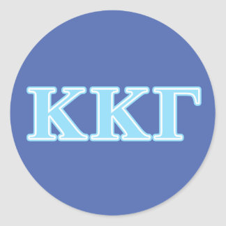 Kappa Kappa Gamma Baby Blue Letters Classic Round Sticker