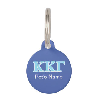 Kappa Kappa Gamma Baby Blue Letters Pet Name Tag